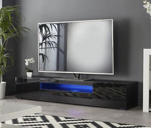 """Black 200cm TV Stand Cabinet Matt Gloss Doors with LED Light for 65"""" 70"""" 80"""" TVs"""