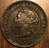 1891 CANADA large 1 cent penny - LDLL Obv#2 variety - Great but also corroded