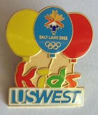 Kids US West Salt Lake 2002 Winter Olympics Balloon Pin Badge Rare Vintage (F3)