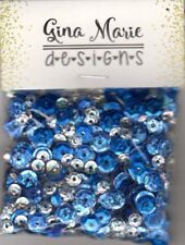 Gina Marie designs Sequin mix - Glitter snow winter -  blue  silver and crystal