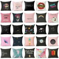 Funny Creative Pillow Case Cotton Linen Sofa Car Cushion Waist Cover Home Decor