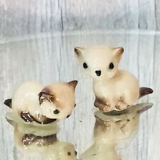 Set of 2 Hagen Renaker Miniature Siamese Kittens Cats Ceramic Figurines Sitting