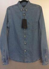 Zara Man NWT Basic Blue Long Sleeve Button Down Shirt Size Small REF 4217/410