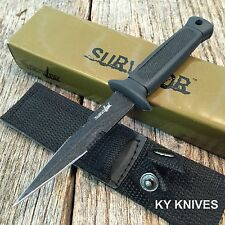 "6.5"" Double Edge Military Tactical Fixed Blade Boot Knife Throwing HK-740BK -M"