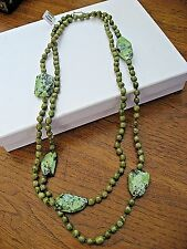 "Chan Luu Necklace Turquoise Chinese Long Green Strand 48"" New Flawed Stone $205"