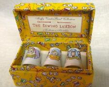 """Muffy Vander Bear Collection of Three Thimbles """" The Sewing Lesson"""""""