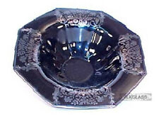 Imperial Black Glass Centerpiece Console Bowl w/ Fruit & Flower Silver Overlay