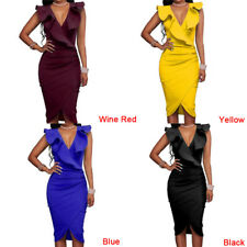 Lady Summer Dresses Sexy Sleeveless V Neck Pencil Party Ruffles Slim Dresses