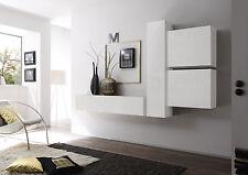 Parete attrezzata moderna di design, in bianco lucido - 244x169 cm
