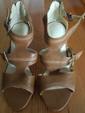 WOMEN'S TAN HIGH HEELS WITH BUCKLES - SIZE 9