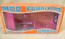 Vintage Dolls House Boxed Mod Furniture Pink Plastic Bedroom Set - Hong Kong