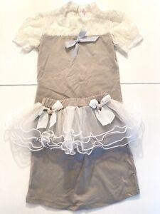 Boutique 2-piece Grey & White Lace Shirt & Skirt Set