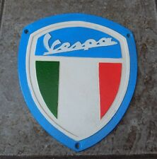 SUPERB HEAVY CAST IRON VESPA SCOOTER 4 COLOUR ADVERTISING SIGN OR PLAQUE