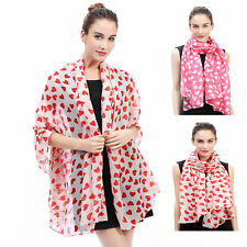 SCARF SHAWL WRAP WITH HEART LOVE VALENTINE GIFT FOR LADIES WOMEN