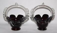 Murano Art Glass - A Pair of Ruby / Blue / Clear Cased Glass Baskets - vgc