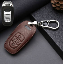 For Audi A4L A6 A8L Q5 A7 Top leather car key case holder cover remote fob Brown