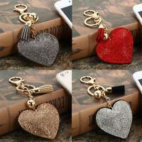 Fashion Heart Crystal Rhinestone Charm Pendant Tassels Chain Keyring Keychain