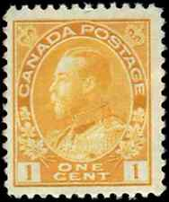 Canada #105f mint F-VF OG NH 1922 King George V 1c yellow Admiral Die I, Dry