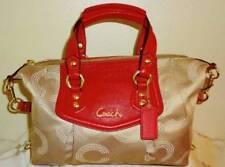 NWT Coach Op Art Dotted Cherry Red Ashley Satchel Purse Handbag 20027