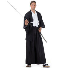 Japan Samurai Kimono Set 3-tlg Kendo Gi + Hakama + Haori Baumwolle Schwarz Weiß