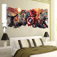 3D Avengers Marvel Thor Iron Man Hulk Wall Art Stickers Decal Kids Bedroom Decor