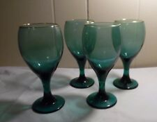 Set of 4 Libbey Green Teardrop 10 oz Goblets With Gold Trim Wine Water Christmas