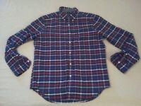 Mens American Eagle Outfitters Plaid Dress Shirt L Large Navy Blue Button Cotton