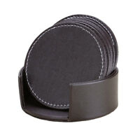 Brown PU Leather Drink Coasters Set of 6 Mug Cup Mats Pats Table Placemats