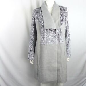 H By Halston Size 18W Gray Shawl Collar Coat With Faux Fur A345776