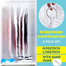 Set of 4 Hanging Vacuum Space Bags Clothes Vacuum Seal Storage With Hand Pump US