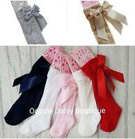 ⭐ Girls Knee High Ribbed Ribbon Socks 0-6 yrs ⭐