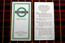 More details for green line coaches bus route map march 1951 6/51 1457s 100,000 + amendments slip