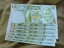 Zambia Bank Notes (7)2 Kwacha  (2) 5 kwacha + (2)Um Kwanza Angola Bank Note Unc.