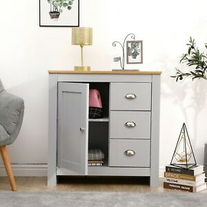 White/Grey+Oak 3 Drawer 1 Door Sideboard Home Wood Storage Cupboards Unit