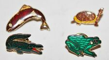 Vtg Lot 4 Different Lapel/Hat Pins - Reptiles Fish: Alligator Frog Turtle