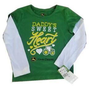 NEW John Deere Girls Green Long Daddy's Sweet Heart  T-Shirt Sz 4