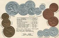 EARLY 1900's VINTAGE CHILE EMBOSSED COPPER SILVER & GOLD COINS POSTCARD - UNUSED