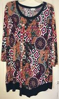 CJ BANKS Blouse Long Sleeve Black Pink Brown Stretch Pullover Tunic Top Size 1X