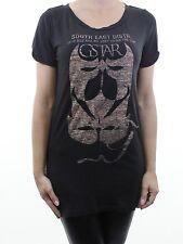G-STAR dark brown print longline t-shirt top size M 12 euro 40