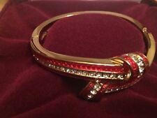 NIB: Jacqueline Kennedy Red Enamel & Crystal Knot Bangle Bracelet