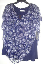"NWT Kim Rogers Curvy woman dressy navy petalburn Americana blouse size 2X  b 45"""