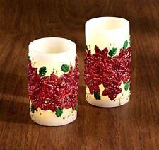 wunderschöne LED Echtwachs-Kerze mit aufgesetzten Christsternen, 12,5cm, neu