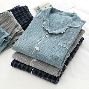 Men Check Cotton Sleepwear Nightwear Pyjamas Set Japanese Tops Pants