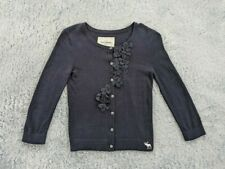 Abercrombie Kids Size XL Cardigan Sweater Girls Black Button Front Flowers Lace