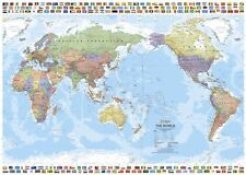 (LAMINATED) WORLD MAP PACIFIC CENTERED WITH FLAGS POSTER (70x100cm) AUSTRALIA