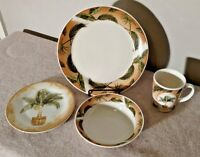 American Atelier 5594 Palm 4 Piece Place Setting with Mug - Rare