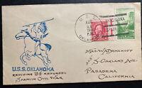 1936 Uss Oklahoma Rescuing Refugees Spanish Civil War Cover  To Pasadena Ca USA