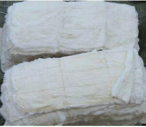 "Real Rabbit Fur Blanket 43x22"" White Rabbit Fur Plates For garment Pelt Throw US"