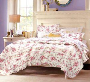 Shabby Chic Vintage Rose 100% Cotton Quilt Set, Bedspread, Coverlet