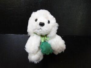 """Russ Berrie Muffin Irish St Patrick day white dog puppy Shades of Green plush 4"""""""